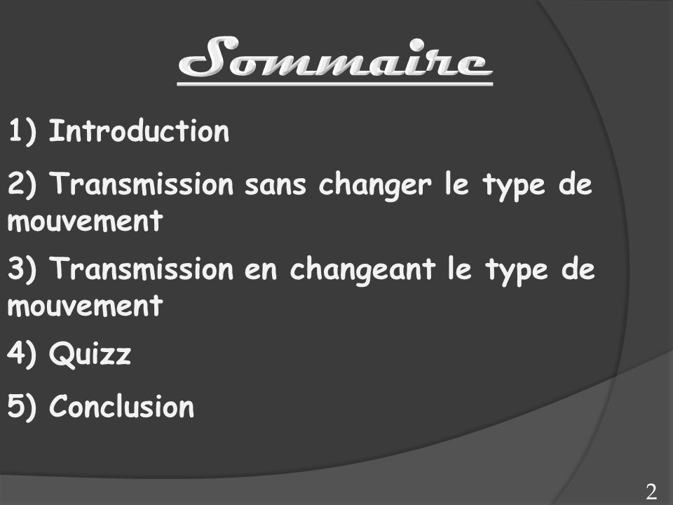Sommaire 1) Introduction