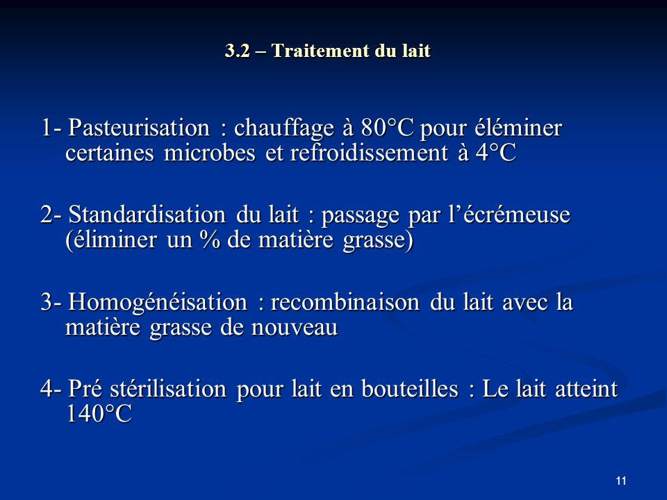 4- Pré stérilisation pour lait en bouteilles : Le lait atteint 140°C