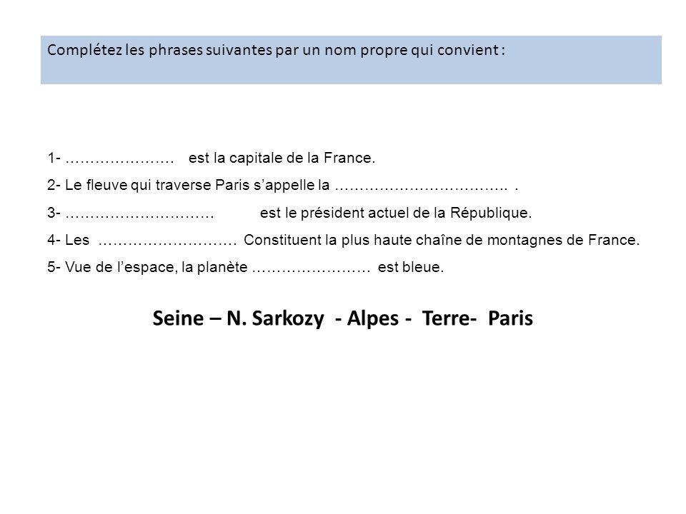 Seine – N. Sarkozy - Alpes - Terre- Paris