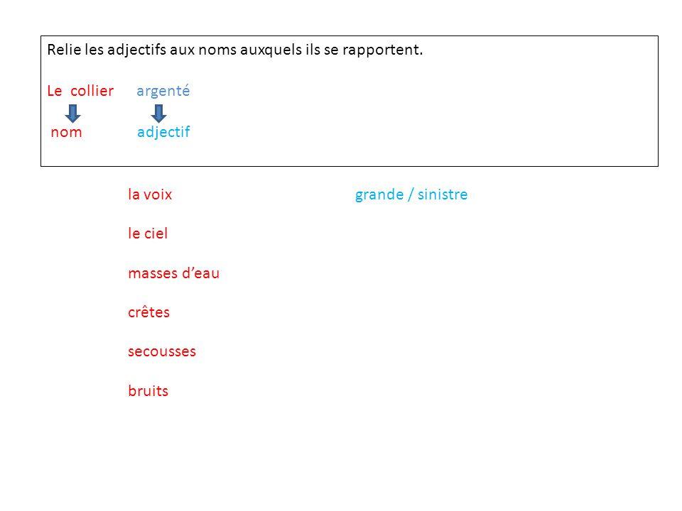 Relie les adjectifs aux noms auxquels ils se rapportent.