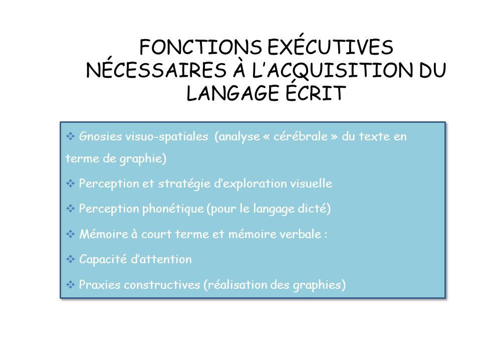 FONCTIONS EXÉCUTIVES NÉCESSAIRES À L'ACQUISITION DU LANGAGE ÉCRIT