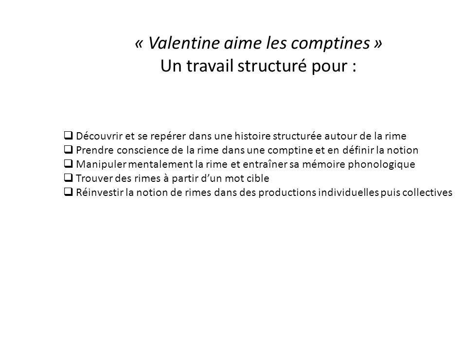 « Valentine aime les comptines » Un travail structuré pour :