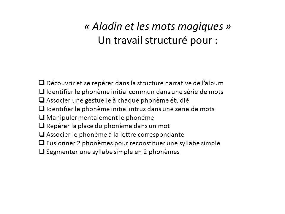 « Aladin et les mots magiques » Un travail structuré pour :