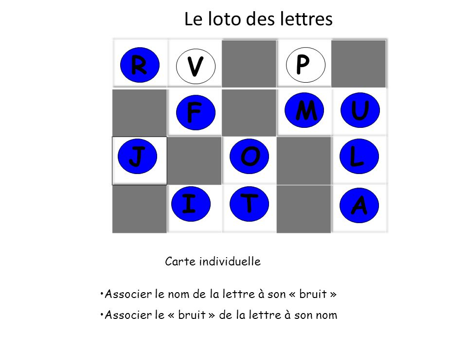 R V P F M U J O L I T A Le loto des lettres Carte individuelle
