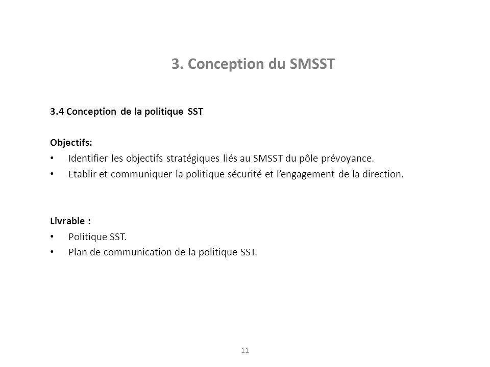 3. Conception du SMSST 3.4 Conception de la politique SST Objectifs:
