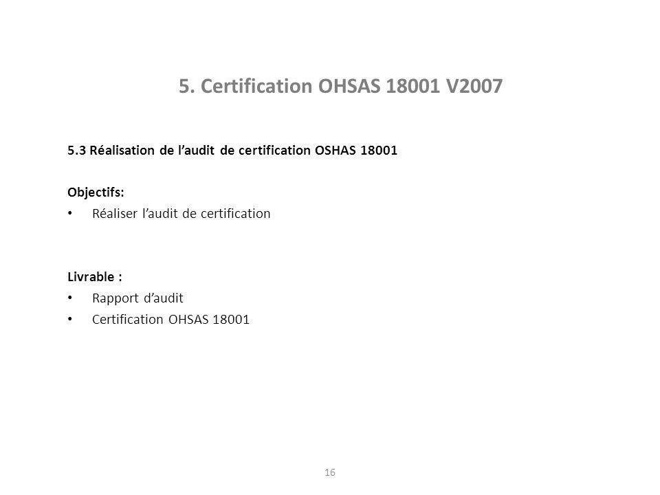 OHSAS 18001 5. Certification OHSAS 18001 V2007. 5.3 Réalisation de l'audit de certification OSHAS 18001.