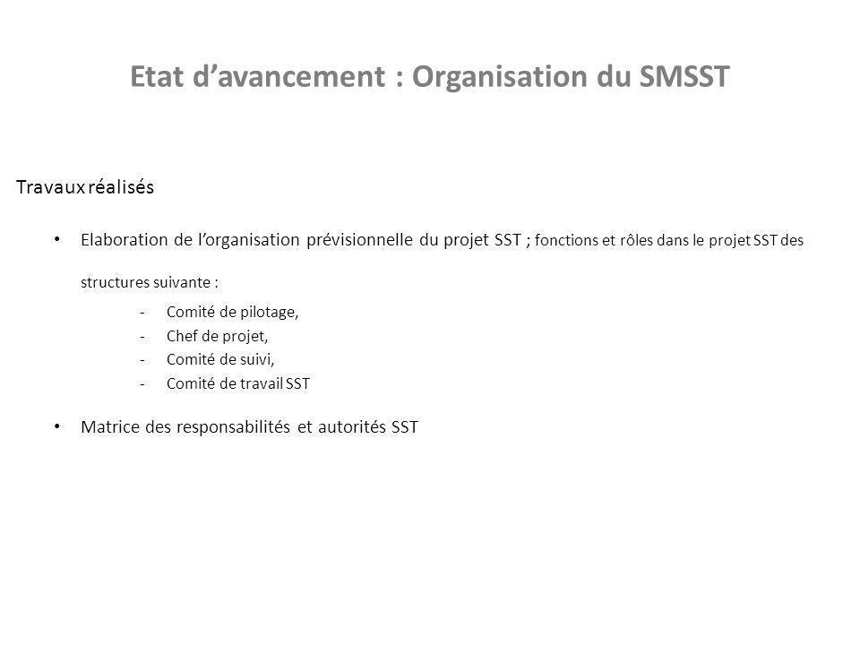Etat d'avancement : Organisation du SMSST