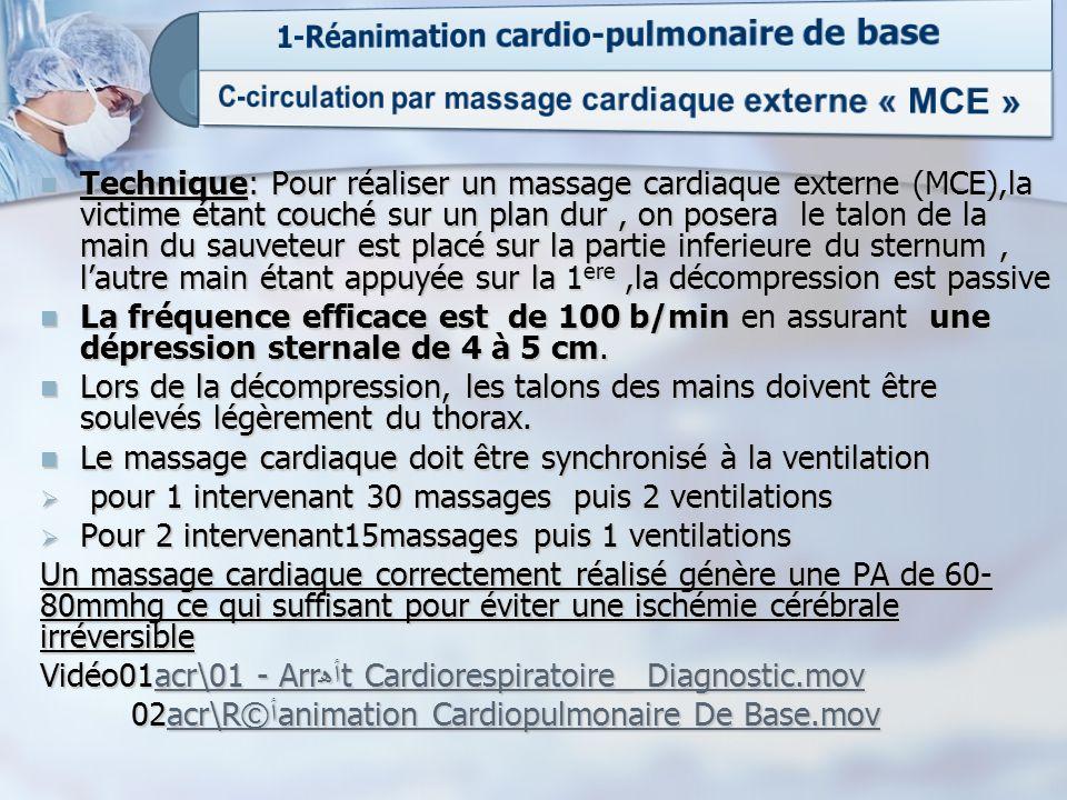 C-circulation par massage cardiaque externe « MCE »