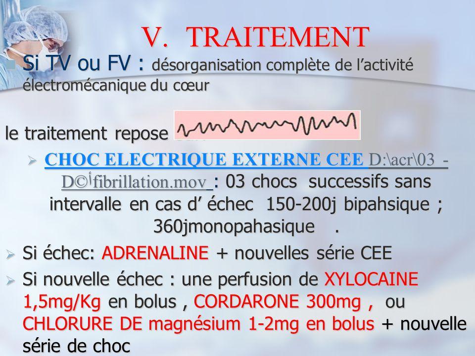 TRAITEMENT Si TV ou FV : désorganisation complète de l'activité électromécanique du cœur. le traitement repose sur:
