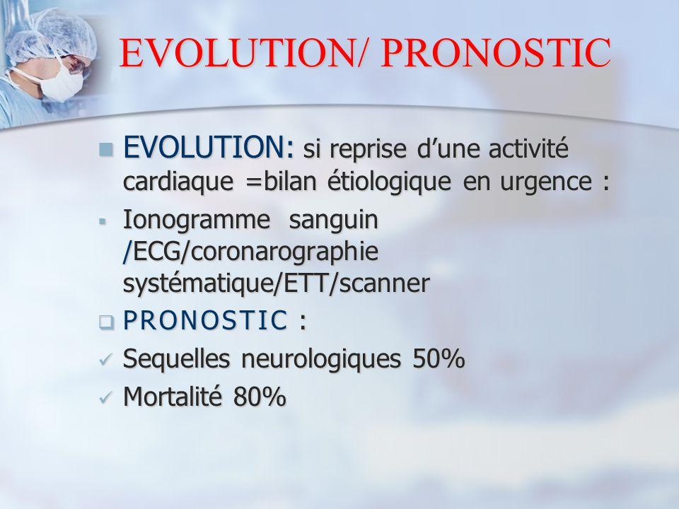 EVOLUTION/ PRONOSTIC EVOLUTION: si reprise d'une activité cardiaque =bilan étiologique en urgence :