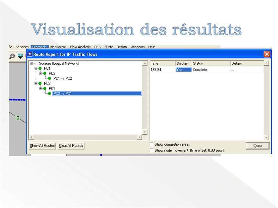 Visualisation des résultats