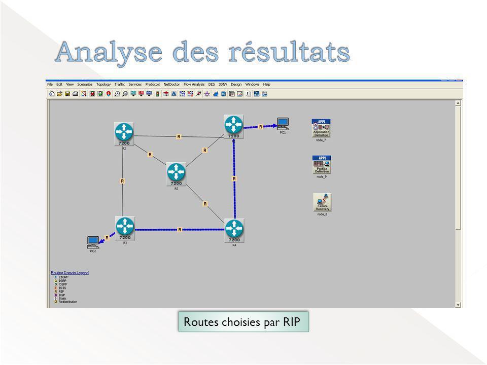 Analyse des résultats Routes choisies par RIP