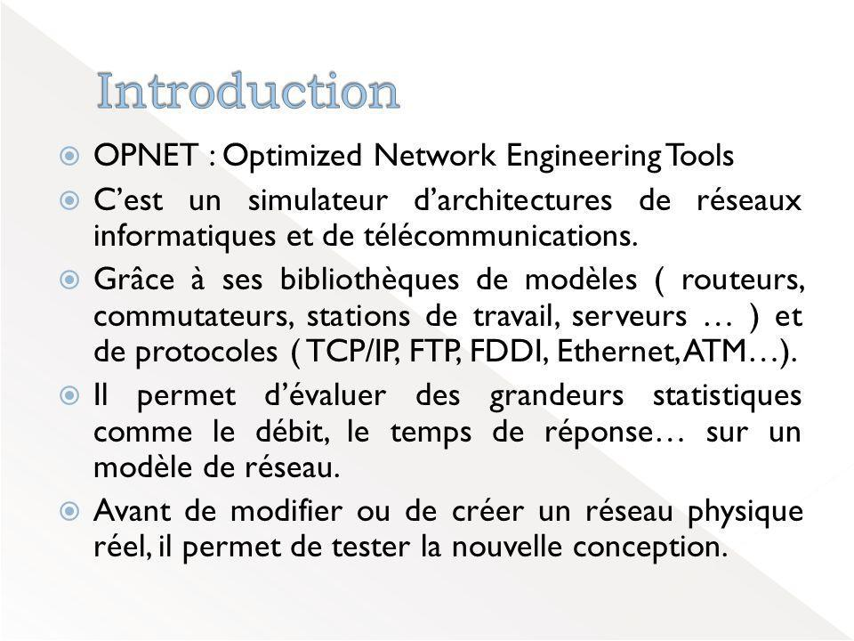 Introduction OPNET : Optimized Network Engineering Tools