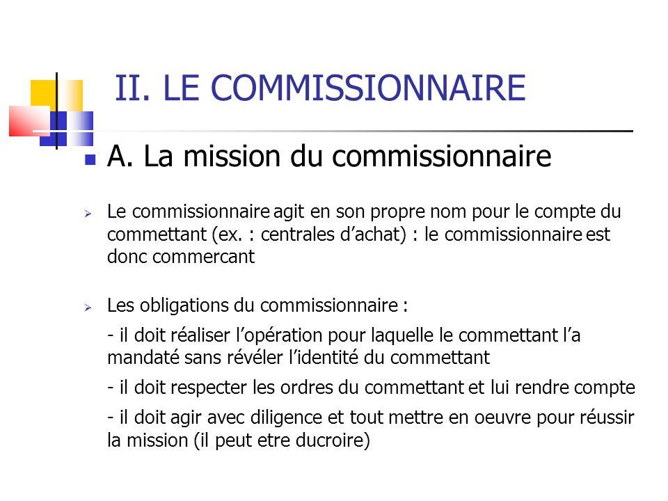 II. LE COMMISSIONNAIRE A. La mission du commissionnaire