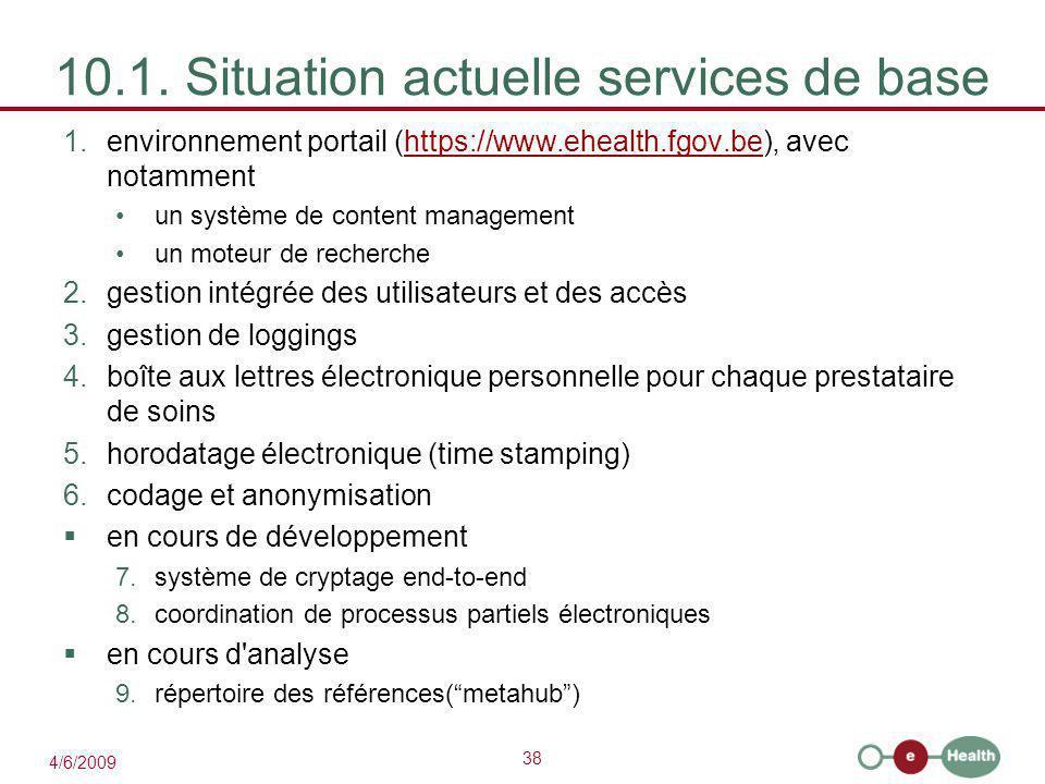 10.1. Situation actuelle services de base