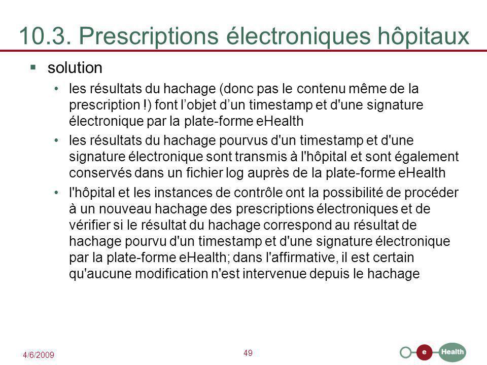 10.3. Prescriptions électroniques hôpitaux
