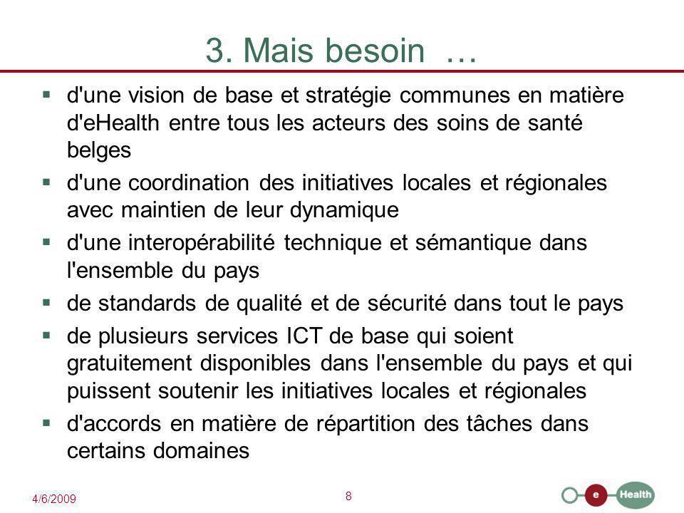 3. Mais besoin … d une vision de base et stratégie communes en matière d eHealth entre tous les acteurs des soins de santé belges.