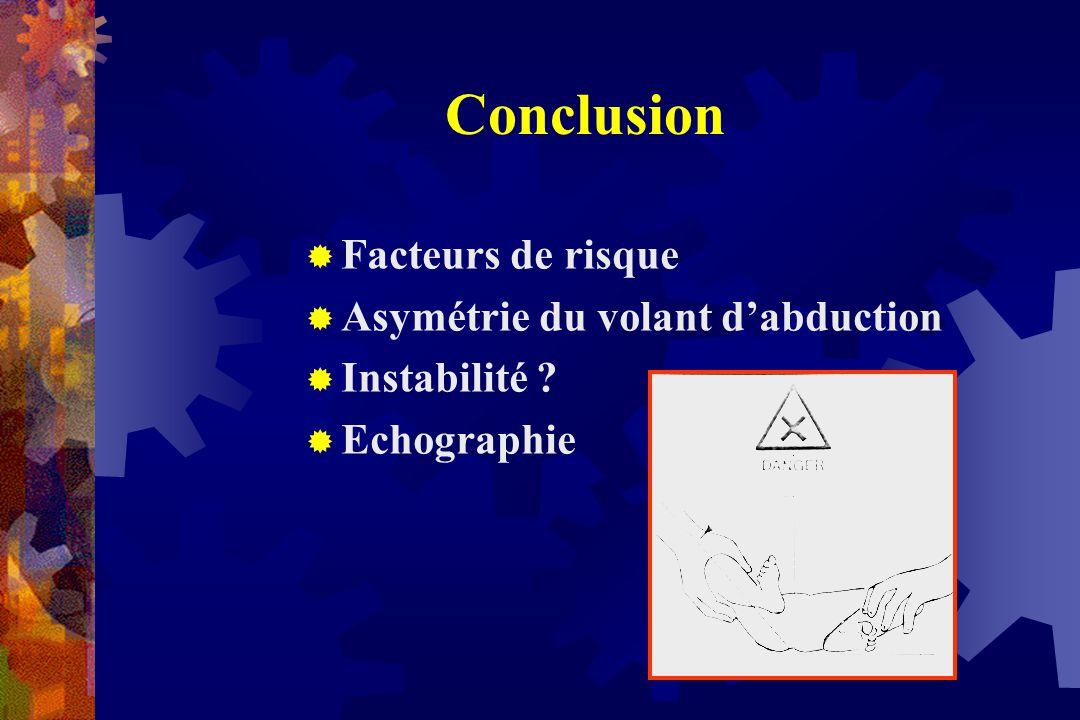 Conclusion Facteurs de risque Asymétrie du volant d'abduction