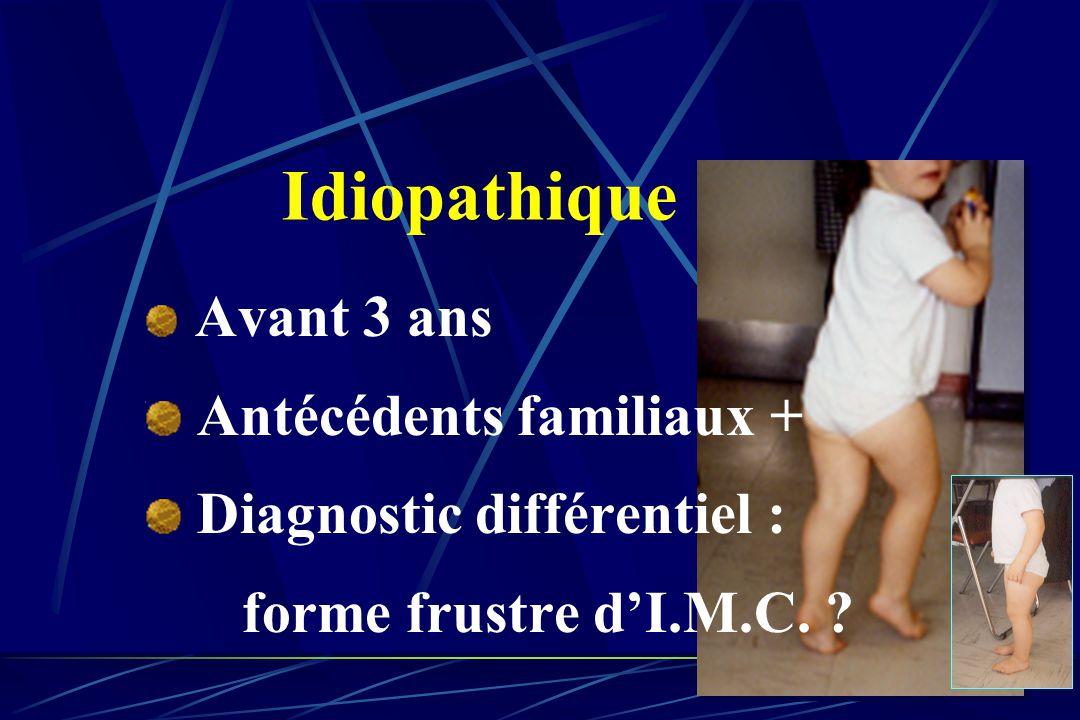 Idiopathique Antécédents familiaux + Diagnostic différentiel :