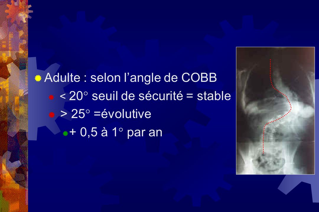 Adulte : selon l'angle de COBB > 25° =évolutive + 0,5 à 1° par an