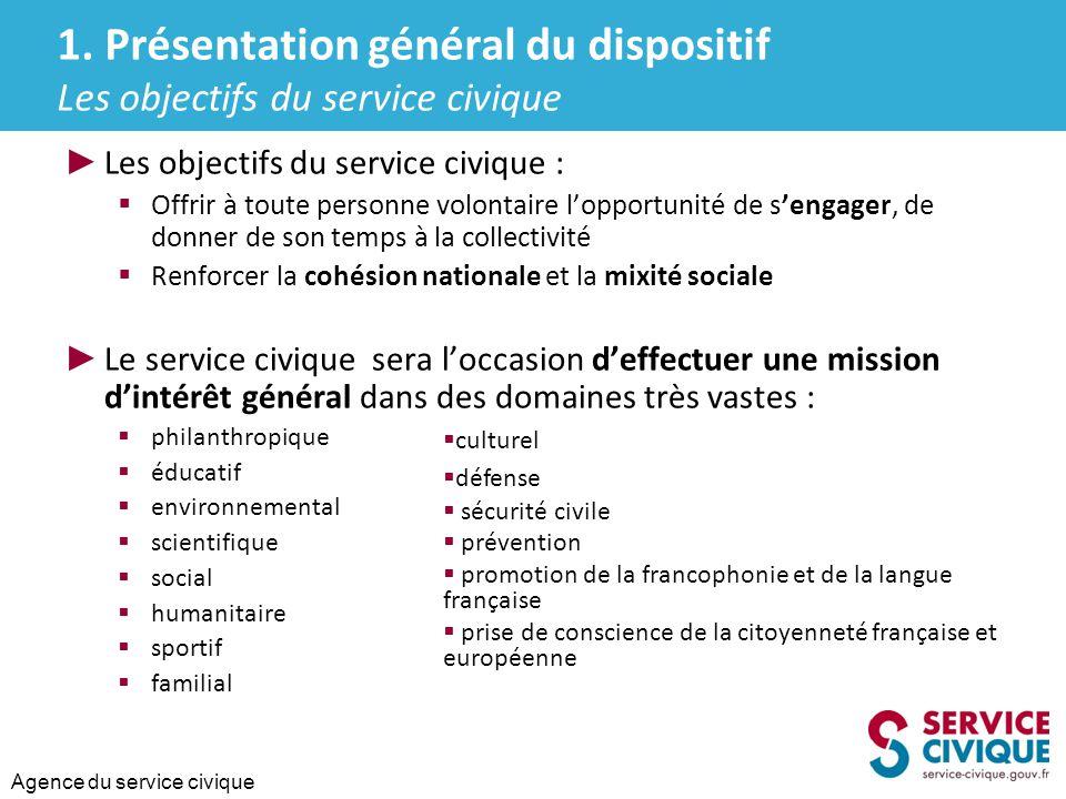 1. Présentation général du dispositif Les objectifs du service civique