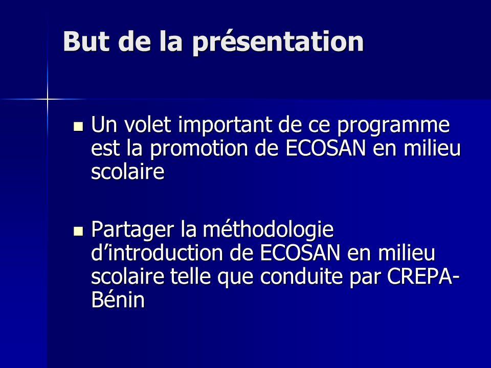 But de la présentation Un volet important de ce programme est la promotion de ECOSAN en milieu scolaire.
