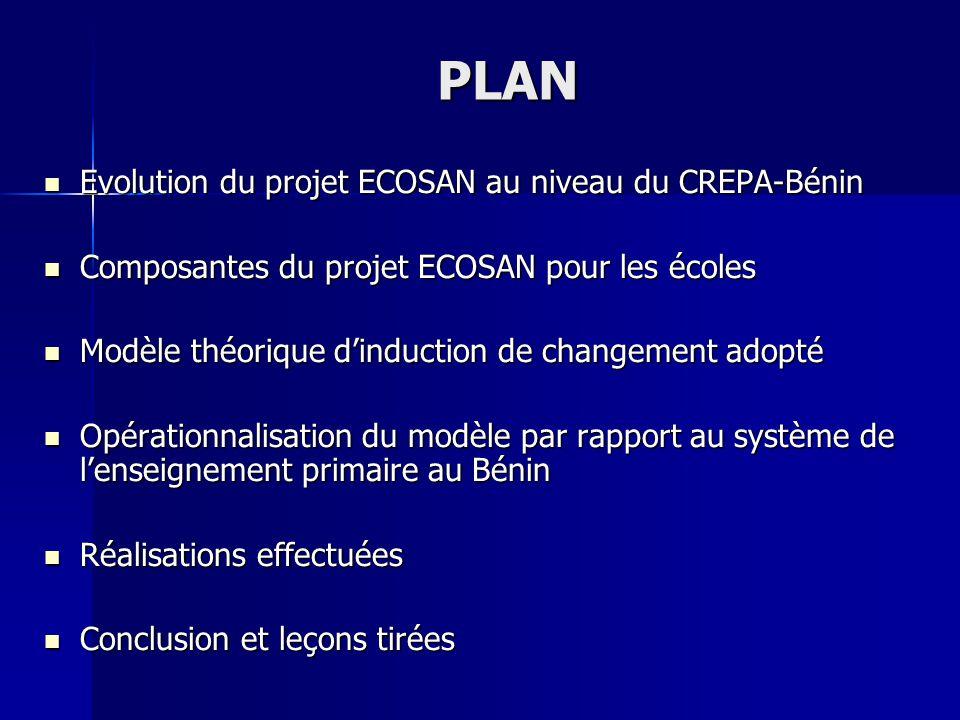 PLAN Evolution du projet ECOSAN au niveau du CREPA-Bénin