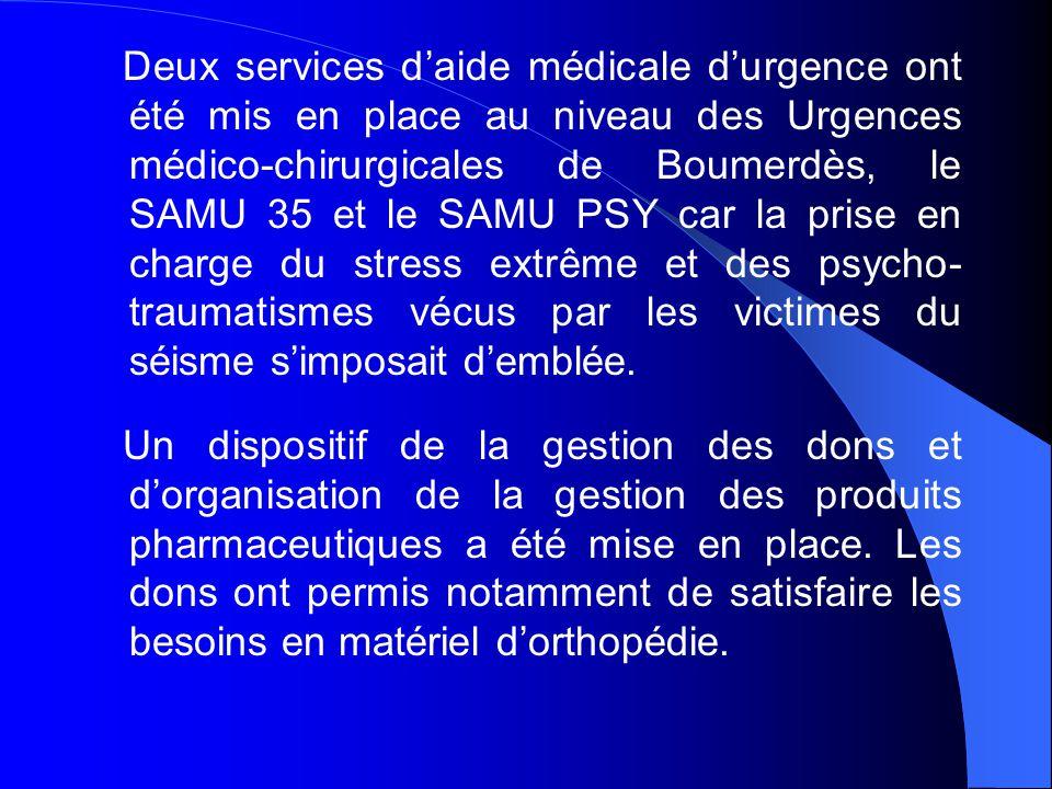 Deux services d'aide médicale d'urgence ont été mis en place au niveau des Urgences médico-chirurgicales de Boumerdès, le SAMU 35 et le SAMU PSY car la prise en charge du stress extrême et des psycho-traumatismes vécus par les victimes du séisme s'imposait d'emblée.