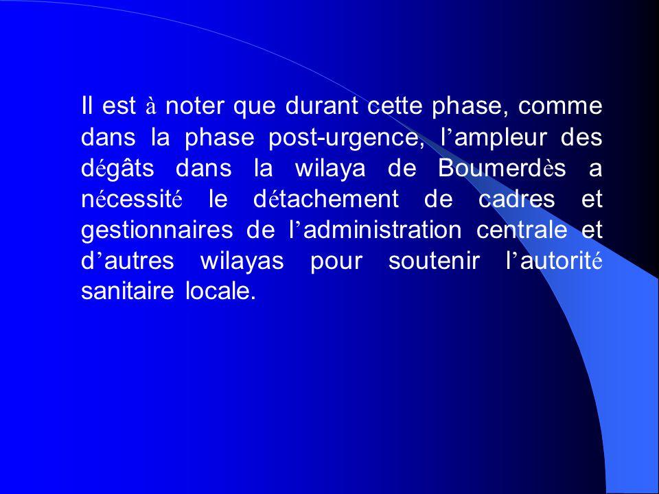Il est à noter que durant cette phase, comme dans la phase post-urgence, l'ampleur des dégâts dans la wilaya de Boumerdès a nécessité le détachement de cadres et gestionnaires de l'administration centrale et d'autres wilayas pour soutenir l'autorité sanitaire locale.