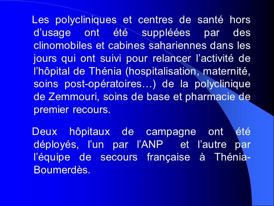 Les polycliniques et centres de santé hors d'usage ont été suppléées par des clinomobiles et cabines sahariennes dans les jours qui ont suivi pour relancer l'activité de l'hôpital de Thénia (hospitalisation, maternité, soins post-opératoires…) de la polyclinique de Zemmouri, soins de base et pharmacie de premier recours.