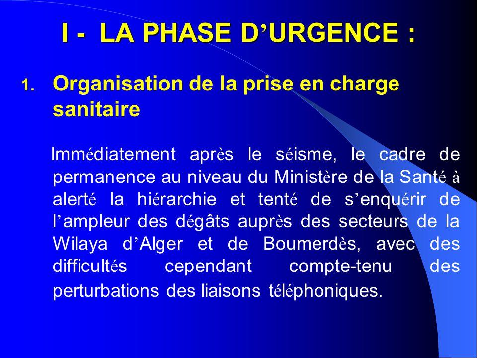I - LA PHASE D'URGENCE : Organisation de la prise en charge sanitaire