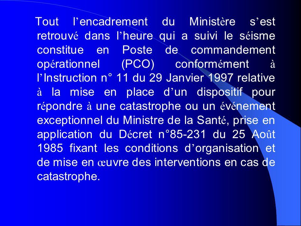 Tout l'encadrement du Ministère s'est retrouvé dans l'heure qui a suivi le séisme constitue en Poste de commandement opérationnel (PCO) conformément à l'Instruction n° 11 du 29 Janvier 1997 relative à la mise en place d'un dispositif pour répondre à une catastrophe ou un événement exceptionnel du Ministre de la Santé, prise en application du Décret n°85-231 du 25 Août 1985 fixant les conditions d'organisation et de mise en œuvre des interventions en cas de catastrophe.