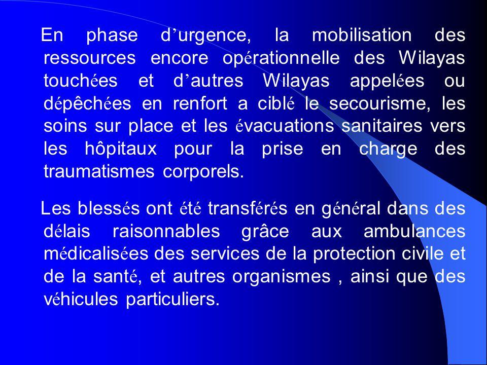 En phase d'urgence, la mobilisation des ressources encore opérationnelle des Wilayas touchées et d'autres Wilayas appelées ou dépêchées en renfort a ciblé le secourisme, les soins sur place et les évacuations sanitaires vers les hôpitaux pour la prise en charge des traumatismes corporels.