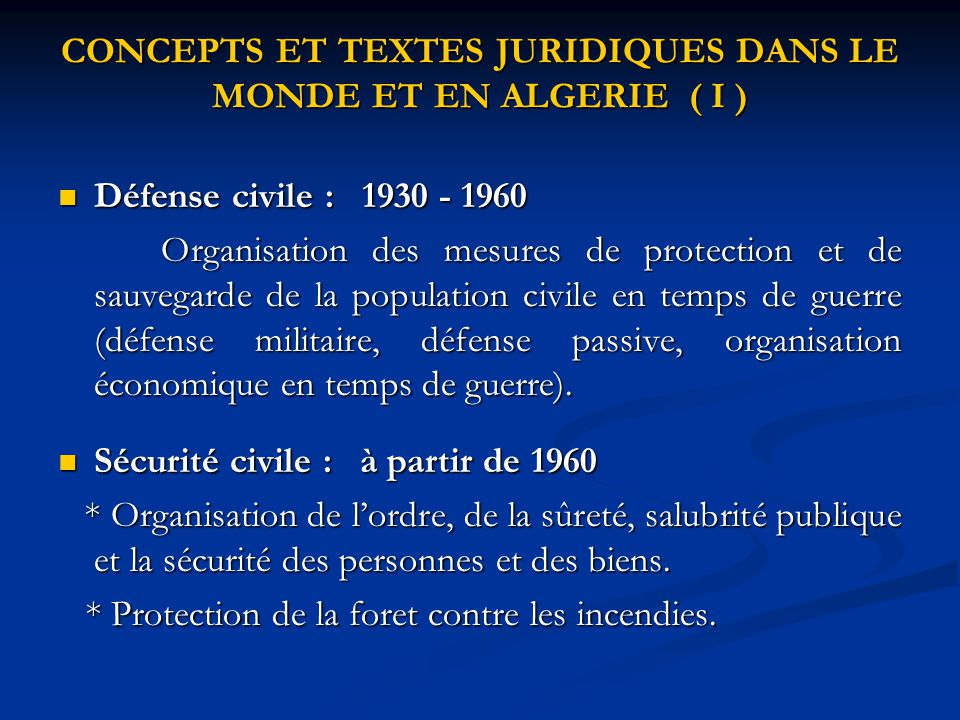 CONCEPTS ET TEXTES JURIDIQUES DANS LE MONDE ET EN ALGERIE ( I )