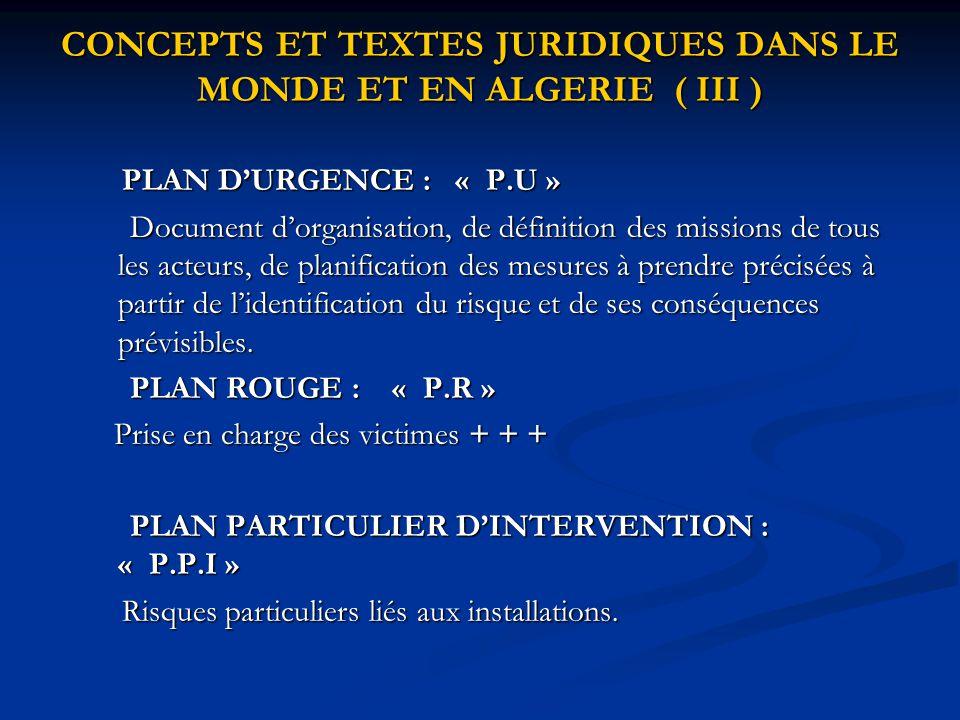 CONCEPTS ET TEXTES JURIDIQUES DANS LE MONDE ET EN ALGERIE ( III )