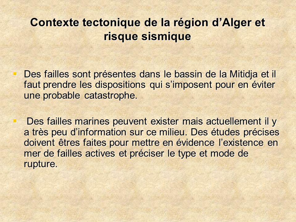 Contexte tectonique de la région d'Alger et risque sismique