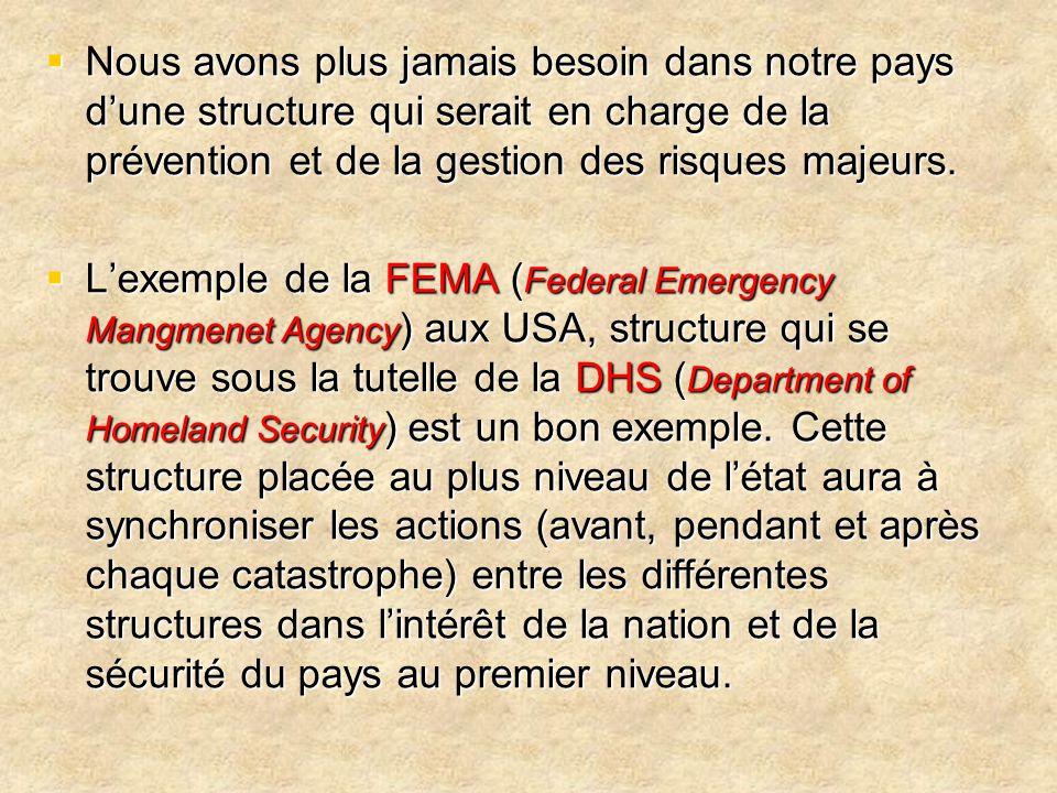 Nous avons plus jamais besoin dans notre pays d'une structure qui serait en charge de la prévention et de la gestion des risques majeurs.
