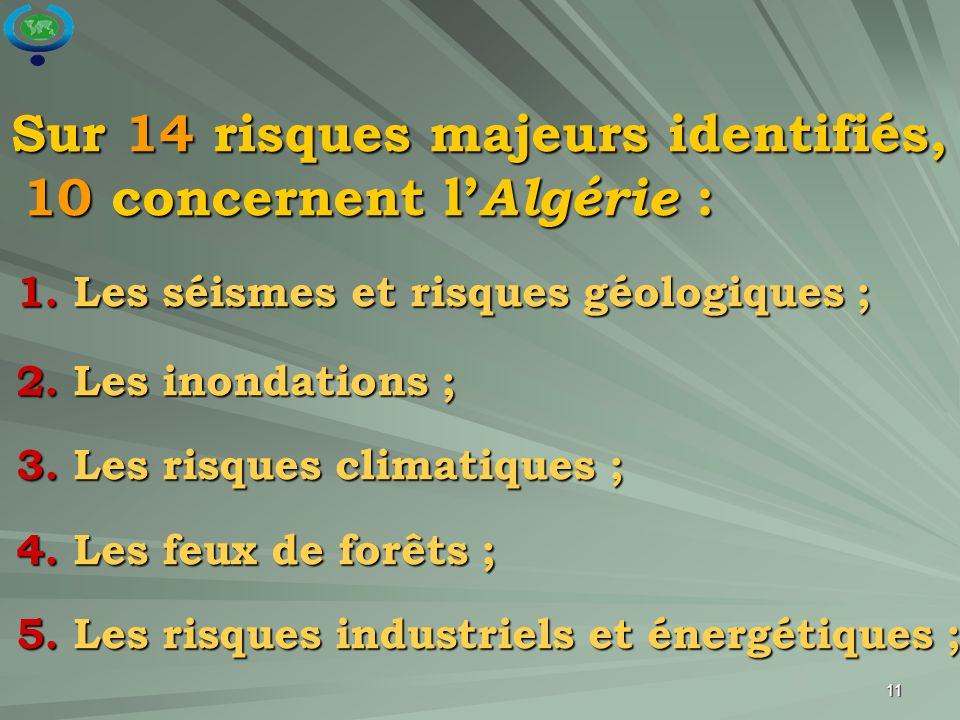 Sur 14 risques majeurs identifiés, 10 concernent l'Algérie :