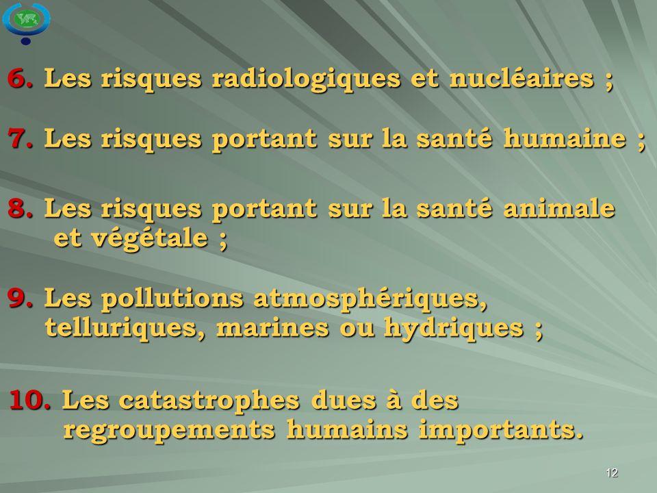 6. Les risques radiologiques et nucléaires ;