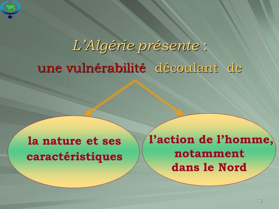 L'Algérie présente : une vulnérabilité découlant de