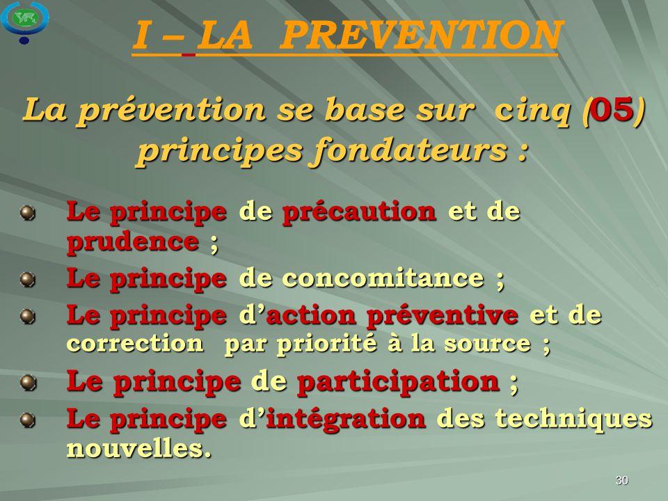 La prévention se base sur cinq (05) principes fondateurs :