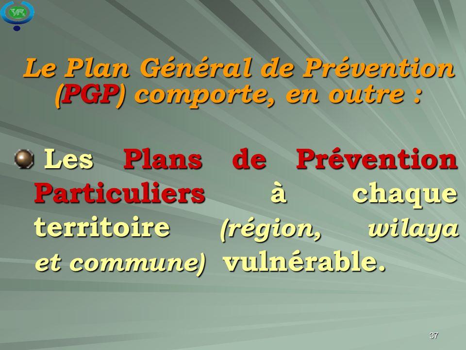 Le Plan Général de Prévention (PGP) comporte, en outre :