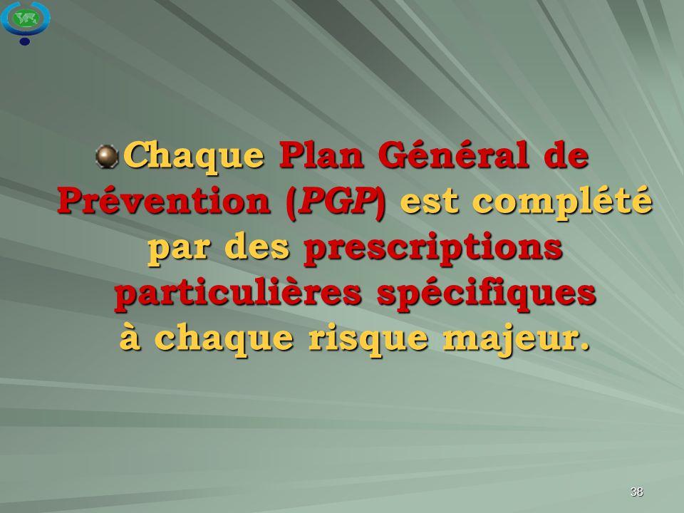 Chaque Plan Général de Prévention (PGP) est complété par des prescriptions particulières spécifiques à chaque risque majeur.