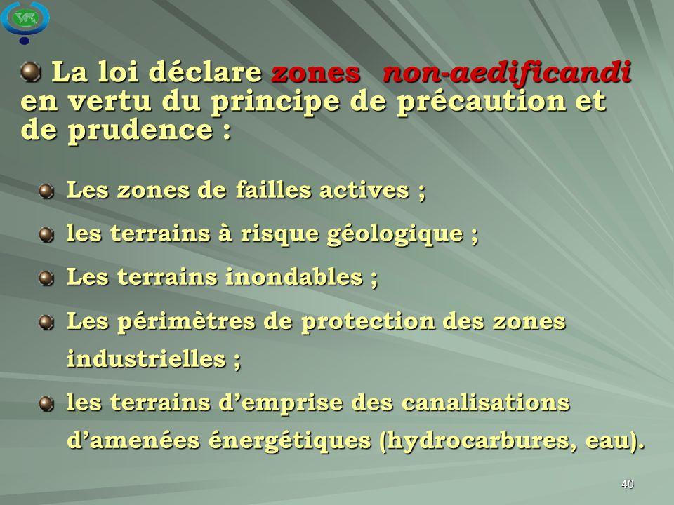 La loi déclare zones non-aedificandi en vertu du principe de précaution et de prudence :