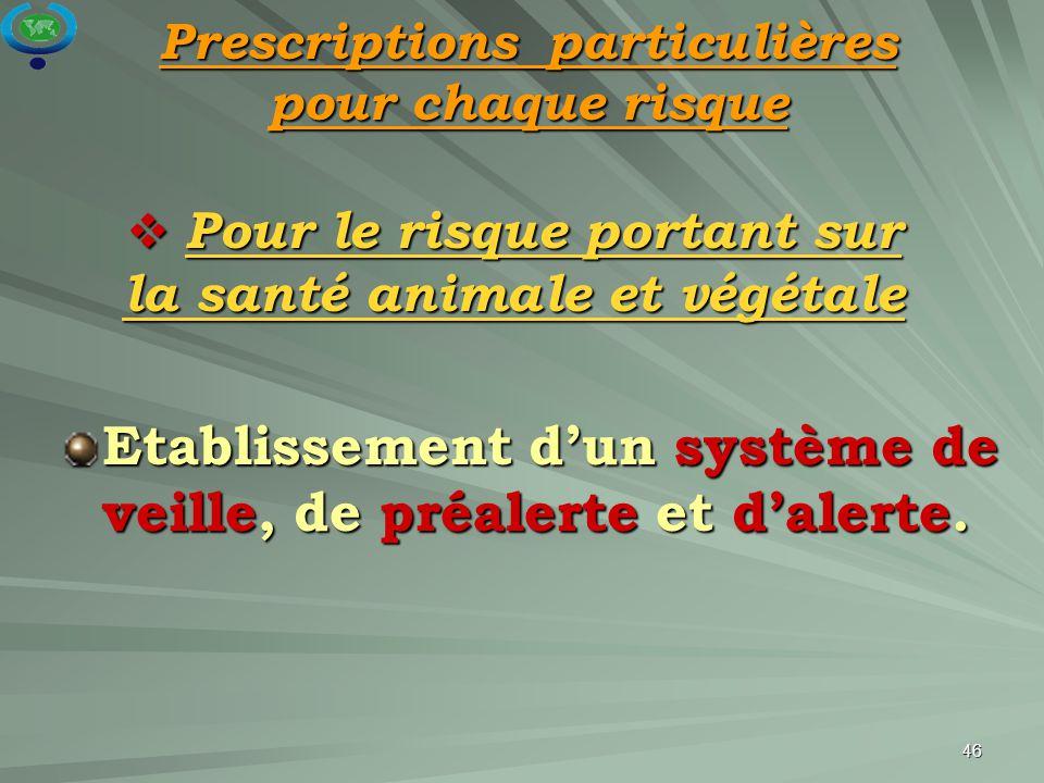 Pour le risque portant sur la santé animale et végétale