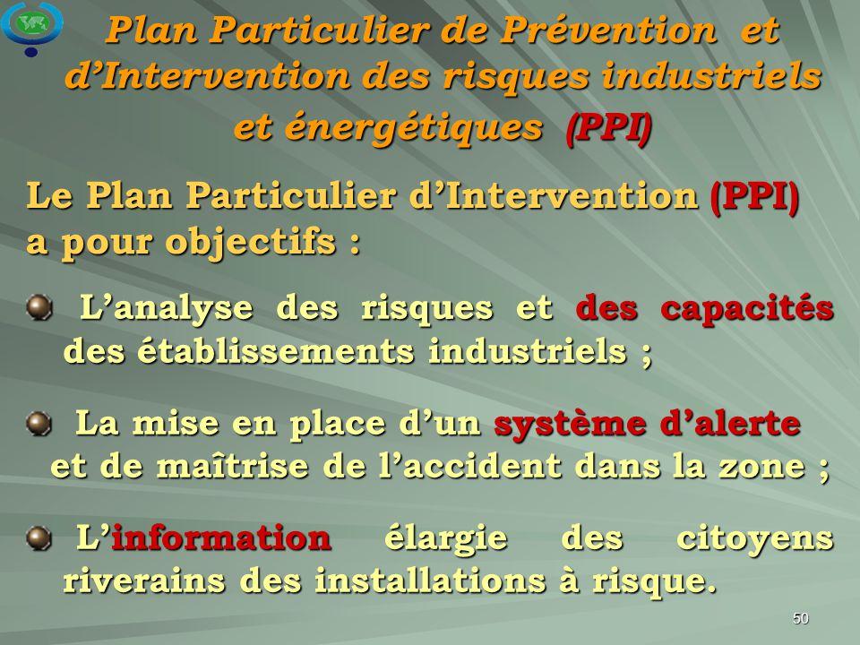 Le Plan Particulier d'Intervention (PPI) a pour objectifs :