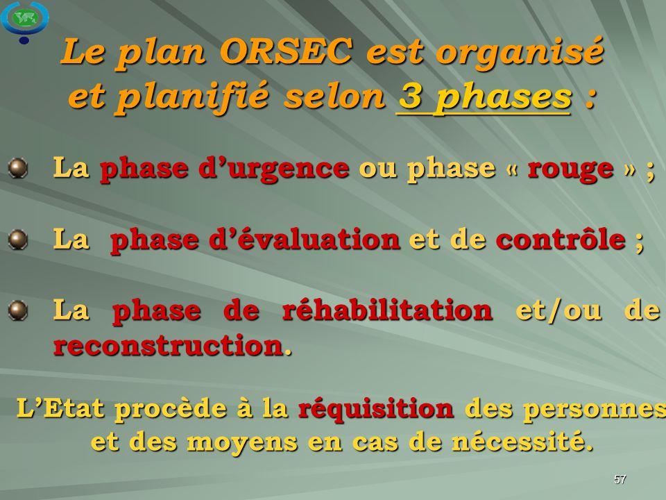Le plan ORSEC est organisé et planifié selon 3 phases :