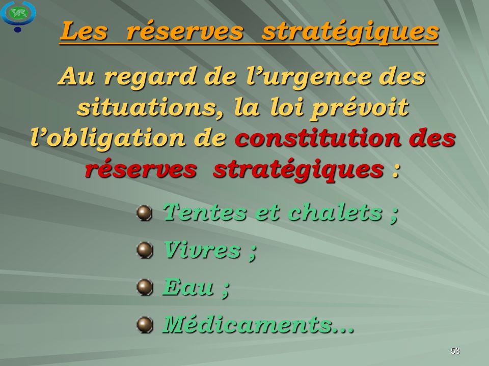 Les réserves stratégiques