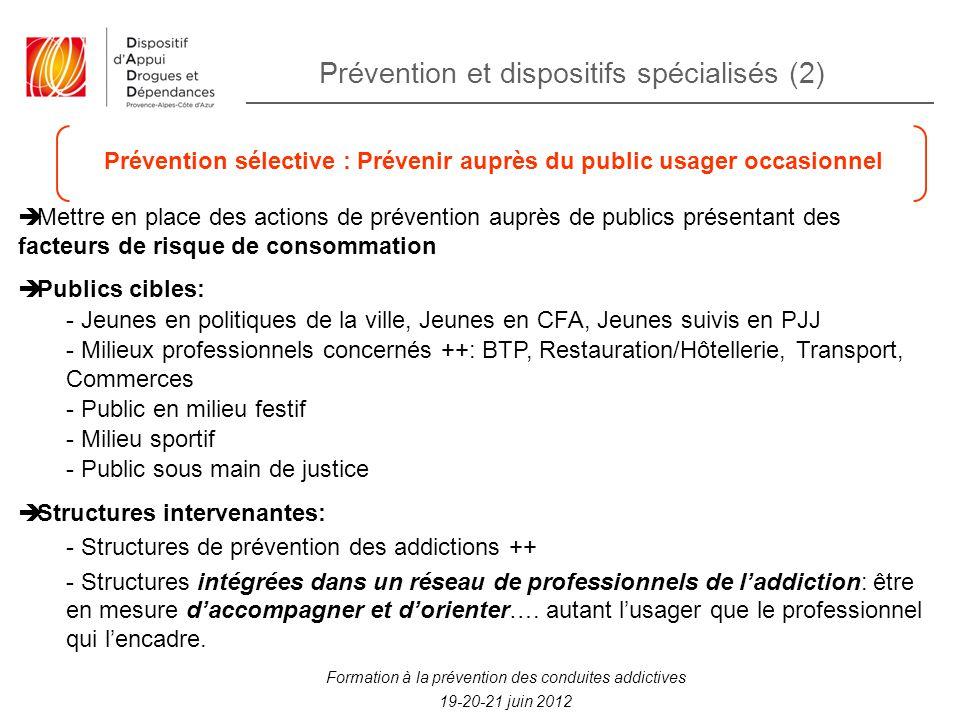 Prévention sélective : Prévenir auprès du public usager occasionnel