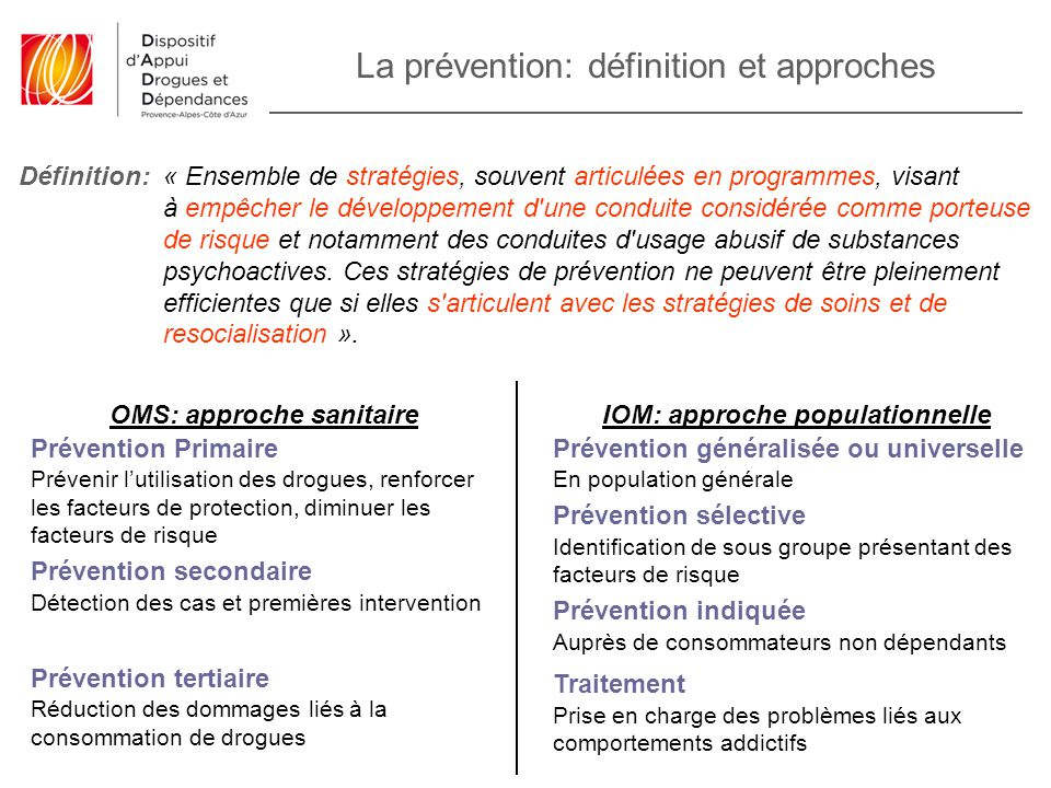 OMS: approche sanitaire IOM: approche populationnelle